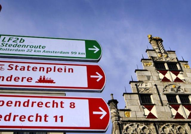 Fietsen bord ANWB Gulden Os Dordrecht