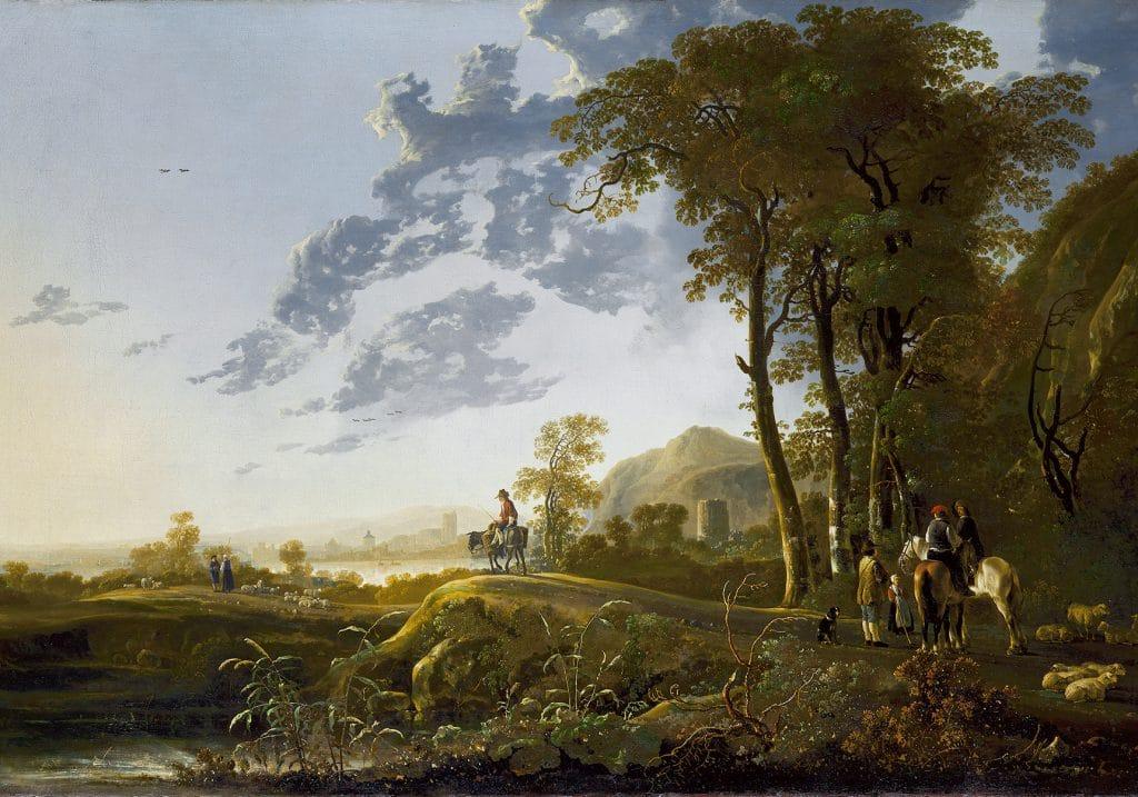 A. Cuyp, Landschap met herders en reizigers bij avondlicht, ca. 1667, Londen, The Royal Collection